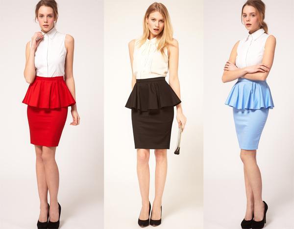 Chân váy công sở dáng peplum sành điệu